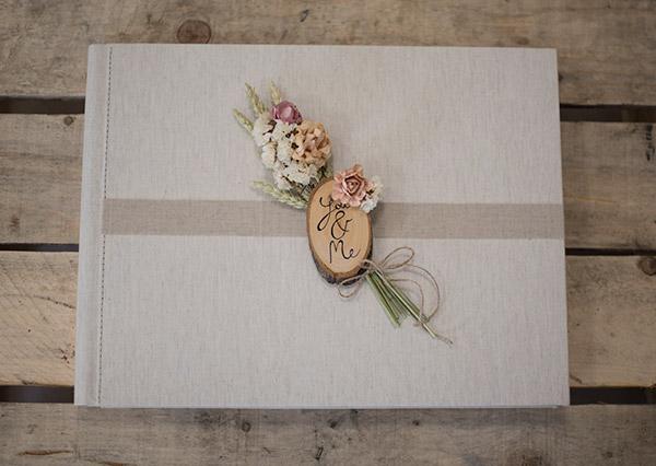 Album decorado de bodas con espigas