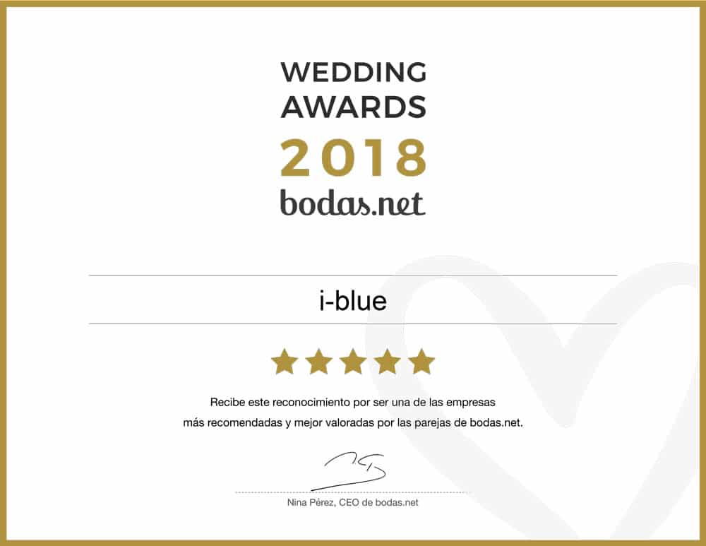 I-blue Bodas, ganador del premio Wedding Awards 2018