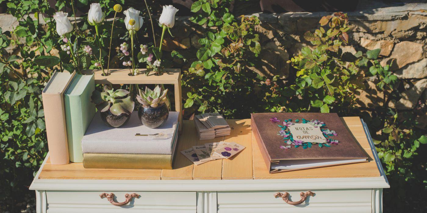 Decoración para bodas, libro de firmas