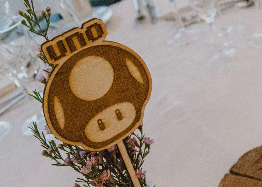 Marca sitio mesa boda de videojuegos