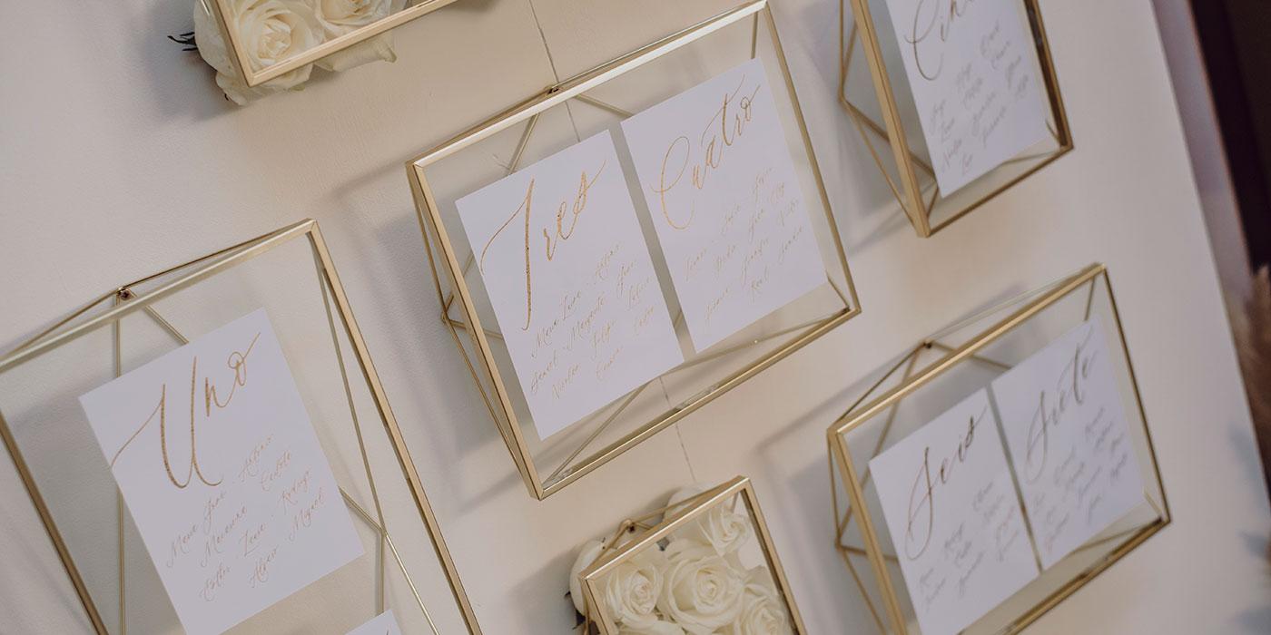 Decoración para bodas, seating plan