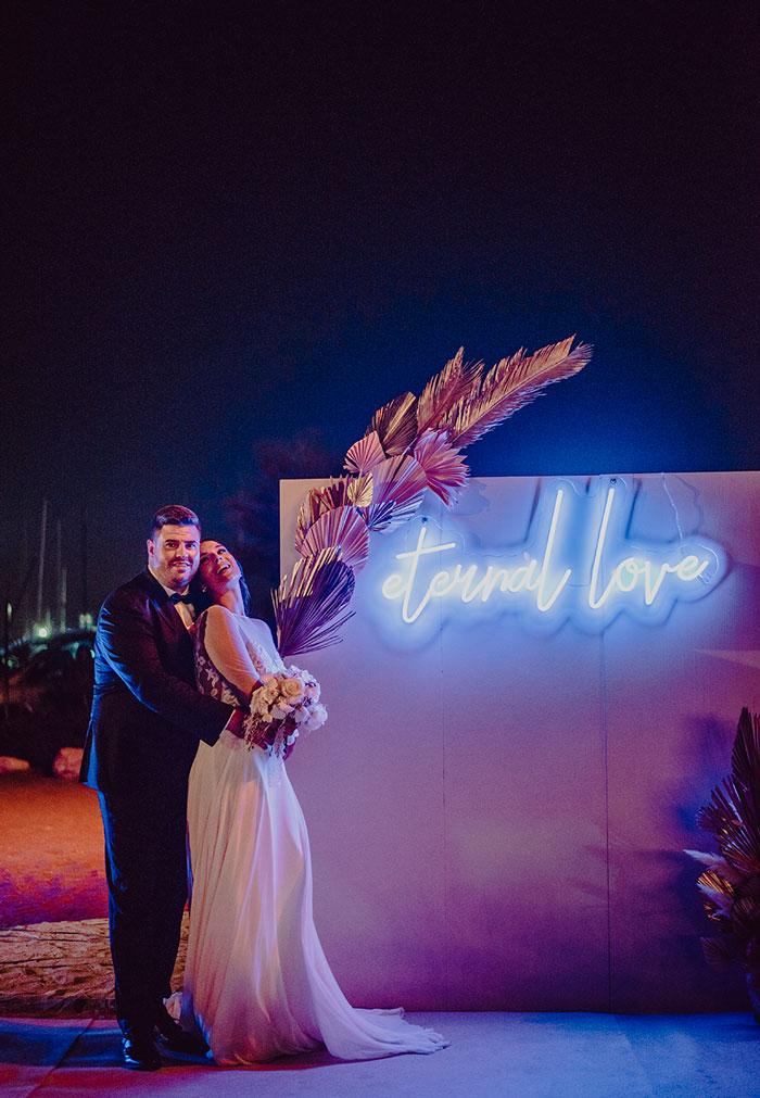 Photocall Pink Wedding, la boda de Maria y David