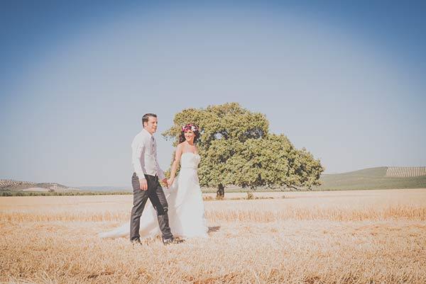 postboda romantico, campo de girasoles