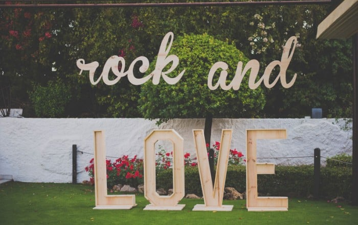 decoracion para boda, rock and love